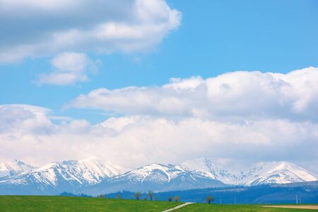 snow capped western high tatras ridge in springtime. beautiful sunny weather with clouds on a blue sky. green grassy hill on the foreground of a scenery. idyllic mountain landscape of slovakia Stock Photo