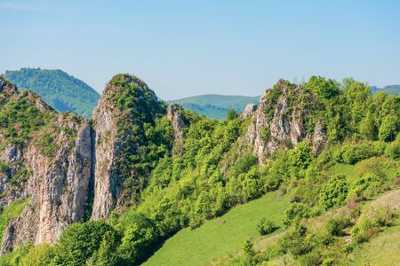 beautiful mountain landscape of apuseni. sunny springtime nature scenery with cliffs of Cheile Manastirii in alba country of romania