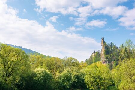 Orava Castle on the high steep rock. one of the most beautiful castles in Slovakia. mountain landscape on a wonderful sunny day. trees in green foliage. popular travel destination Stock Photo