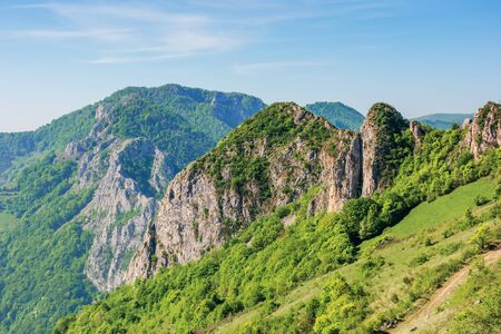 beautiful mountain landscape of romania nature. sunny springtime scenery with cliffs of Cheile Manastirii in alba country