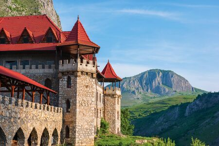 cheile valisoarei, alba, romania - 29 APR, 2018: hotel castle The Temple of the Knights. authentic place for the rest. located in the beautiful gorge of trascau mountains. facade view