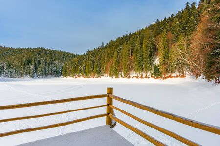 fence on the wooden pier on the lake. wonderful sunny weather in winter. frozen lake synevyr covered with snow. spruce forest on a shore around. popular destination of carpathian mountains