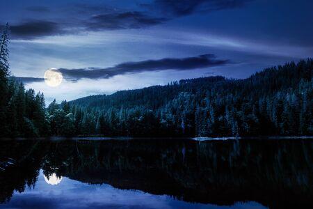 lago de montaña en verano por la noche. gran paisaje natural al aire libre a la luz de la luna llena. bosque de coníferas con árboles altos en la orilla reflejándose en agua clara. Precioso paisaje