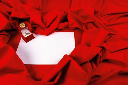 valentine card composition on a red fabric. there is always some madness in love let me be yours message.  Banco de Imagens