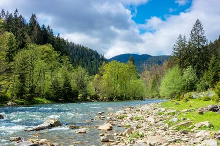 river in mountains. wonderful springtime scenery of carpathian countryside. blue green water among forest and rocky shore. wooden fence on the river bank. sunny day with clouds on the sky Stock Photo - 138239322