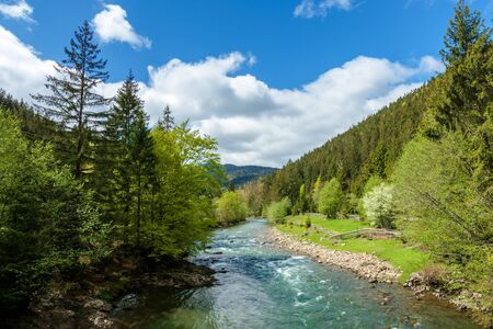 river in mountains. wonderful springtime scenery of carpathian countryside. blue green water among forest and rocky shore. wooden fence on the river bank. sunny day with clouds on the sky