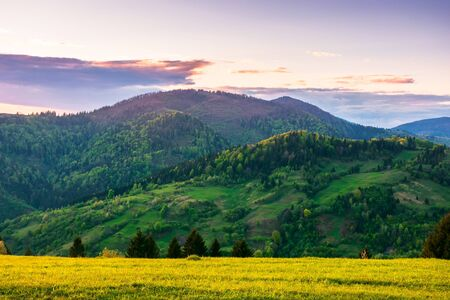 rural landscape in mountains at dusk. amazing view of carpathian countryside with fields and trees on rolling hills. glowing purple clouds on the sky. calm weather in springtime Stock Photo - 139859029