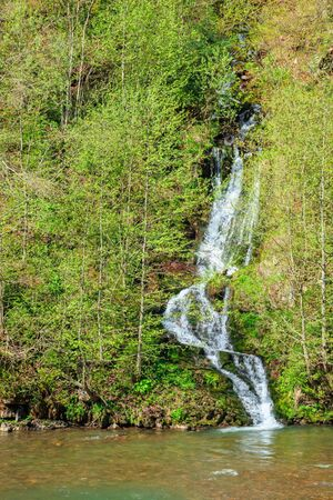 waterfall from the forest on the hill. beautiful nature scenery in springtime. sunny weather Stock Photo - 140209107