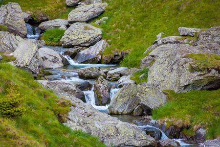 balea stream among the rocks. beautiful nature scenery in fagaras moutains romania Stock Photo - 140833765