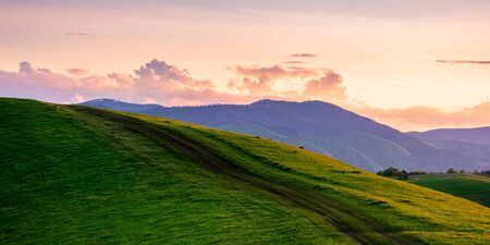 rural landscape in mountains at dusk. amazing view of carpathian countryside with dirt road through rolling hills. glowing purple clouds on the sky. calm weather in springtime Stock Photo