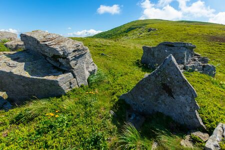 rocks on the alpine hillside meadow. wonderful summer nature scenery. green grass on the hills and fluffy clouds on the blue sky. beautiful mountain landscape of carpathians