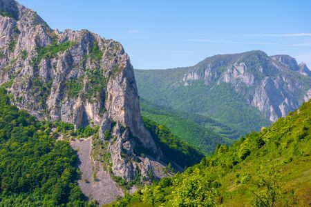 beautiful landscape of gorges in trascau mountains, romania. alba country apuseni natural park in springtime. wonderful scenery in morning light