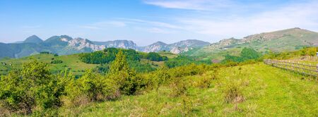 beautiful panorama of gorges in trascau mountains, romania. alba country apuseni natural park in springtime. wonderful scenery in morning light