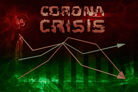 corona virus crisis illustration. forest. abstract fractal graphic background. text with glitch effect Stock Photo