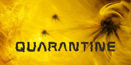 corona virus quarantine illustration. abstract fractal graphic background. text with glitch effect
