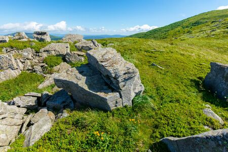 rocks on the alpine hillside meadow. stunning summer nature scenery. green grass on the hills and fluffy clouds on the blue sky. wonderful mountain landscape of carpathians