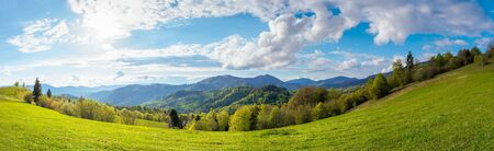 stunning rural landscape in mountains. fields and meadows on hills rolling in to the distant ridge. trees in fresh green foliage. panorama of a countryside on a sunny day in spring. fluffy clouds on the sky Stock Photo