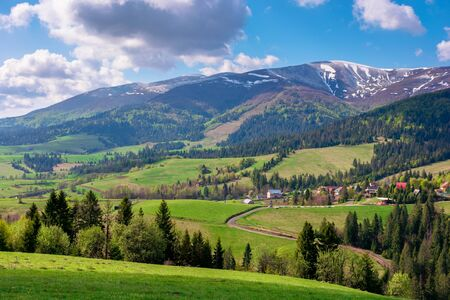 great outdoors on a sunny springtime day. beautiful countryside landscape in mountains. forest behind the meadow covered in fresh green grass. borzhava ridge in the distance Stock Photo