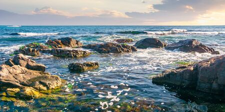 rocky shoreline of the sea in the morning. beautiful scenery with splashing waves and clouds on the sky. calm summer weather Stock Photo