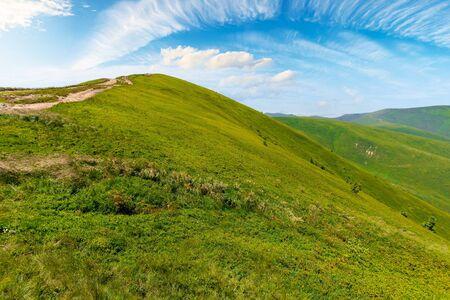 alpine scenery of carpathian mountain ridge borzhava. stunning views on a windy summer day. clouds on the sky. popular travel destination of ukraine