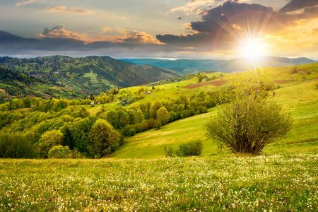 beautiful rural landscape in mountains at sunset. countryside scenery on an overcast weather in spring in evening light Stock Photo