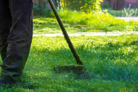 lawn care maintenance. professional grass cutting in the yard Stock Photo