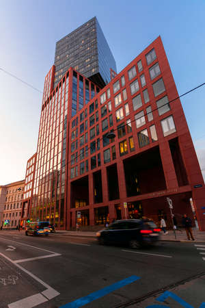 vienna, austria - OCT 17, 2019: modern architecture of old town in the evening. great scenery in Weissgerber at dusk. city tower building, justice center