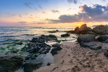 idyllic sunrise on the sea shore. waves crashing rocks on sandy beach. beautiful cloudscape above the horizon