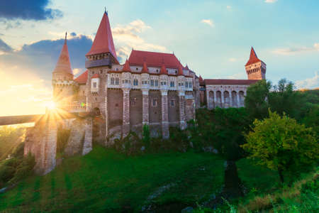 legendary corvins castle in hunedoara at sunrise. one of the largest in europe and is in a list of seven wonders of romania. most visited travel destination of transylvania Editorial