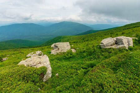 huge stones in valley on top of mountain ridge. mountain summer landscape. meadow with huge stones among the grass on top of the hillside near the peak of mountain range