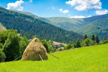 summer landscape of rural valley. Stack of hay on a green meadow in the mountains in the morning under a blue summer sky