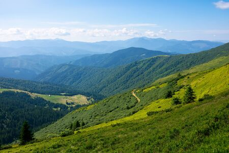 summer mountain landscape. green hills rolling in to the distance. fluffy clouds on the blue sky above the valley. bright sunny day Stock Photo - 148724600