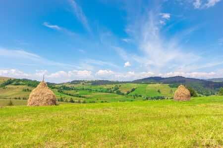 weathered hay stack on the field. idyllic coutryside scenery on a sunny day. wonderful  rural landscape of carpathian mountains Stock Photo