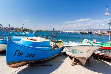 nessebar, bulgaria - SEP 02, 2019: boats in harbor of an old town. popular travel destination. wonderful sunny weather. Editorial