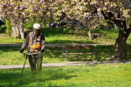 professional garden service at work. lawn care concept. cutting an mowing grass in the park. spring summer season
