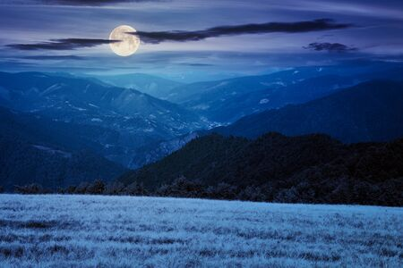 mountain landscape at night. trees on the meadow in dry grass in full moon light. ridge in the distance. beech forest on the hills. clouds on the sky Stock Photo - 150119519
