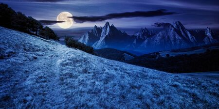composite mountain landscape at night. path through meadow. distant tatra ridge in full moon light. beech forest on the hill. mystery and witchcraft concept Stock Photo