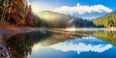 synevyr lake at foggy sunrise. misty composite landscape in mountains with snow capped tops. forest reflecting in the water. morning in fall season. trees in colorful foliage Stock Photo