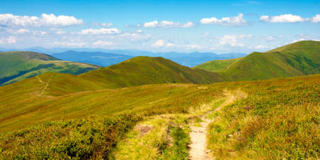 trail uphill through mountain range. grass on the hills and slopes. summer landscape on a sunny day. Stock Photo