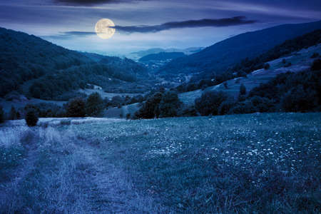 country road through rural field at night. suburban summer landscape in mountains in full moon light. village in the distant valley. cloudy day