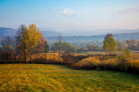 misty morning of mountainous countryside. rural landscape in autumn colors. trees on the fields in fall colors. distant mountains beneath a sky with clouds in morning light Stock Photo
