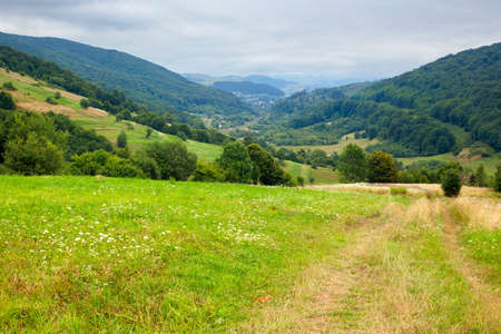 country road through rural field. suburban summer landscape in mountains. village in the distant valley. cloudy day Stock Photo