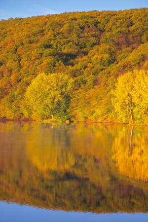mountain lake among the forest. trees in colorful foliage. beautiful landscape on a sunny autumn morning. blue sky reflecting in the water