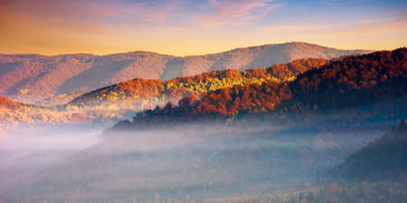 mountain landscape in autumn. fog glowing in morning light. dramatic sky with clouds at sunrise