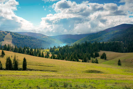 autumnal countryside landscape. beautiful mountain scenery on a cloudy day. green fields rolling through hills in to the forest at the foot of the ridge Banque d'images