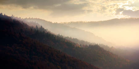 dramatic autumn dawn in mountains. beautiful nature background. fog above the forested hills in red foliage Stock Photo