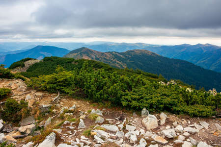 view from the top of a mountain. cloudy autumn scenery. mountain range behind the valley in the distance. dramatic weather in colorful scenery Stock Photo