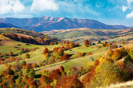 beautiful mountain landscape on a sunny day. wonderful countryside scenery in autumn season. rural fields and trees in colorful foliage on the distant rolling hills