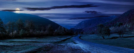 road winding through the country valley at night. wonderful autumn landscape in mountains in fool moon light. forest on hills in colorful foliage Stock Photo