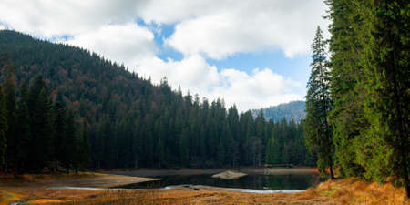 mountain lake among the coniferous forest. wonderful nature scenery in autumn. dry sunny weather with clouds on the sky Stock Photo - 157063612